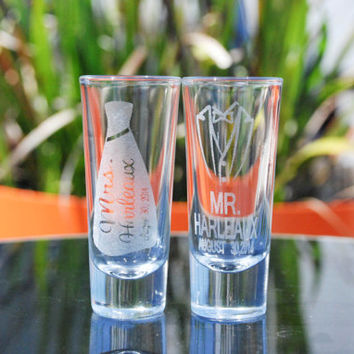 Wedding party gift - set of 6 - Mr. and Mrs. - Tuxedo and Dress - Personalized laser etched shot glass. Great keepsake your Wedding Party!!