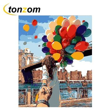 RIHE Hand In Hand Lovers Diy Painting By Numbers Abstract Balloon Oil Painting On Cuadros Decoracion Acrylic Drawing Wall Art