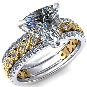 Lizette Trillion Moissanite 3 Claw Prong 3/4 Eternity Milgrain Diamond Shank Engagement Ring