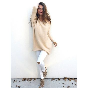 Women Long Sweater V-neck  Casual Loose Pullovers  Sweaters
