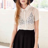 Cooperative Lace-Mix Cropped Button-Down Shirt- White