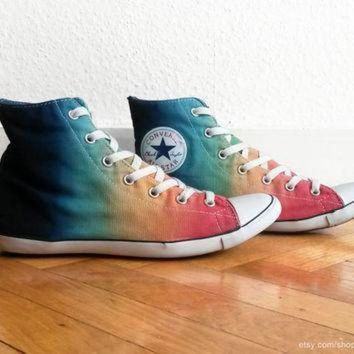 DCCK1IN multi colour ombre converse dip dye upcycled vintage sneakers converse all star lite