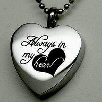"""Always in My Heart "" Cremation Jewelry Silver Urn Necklace Pendant Memorial Keepsake Necklace"