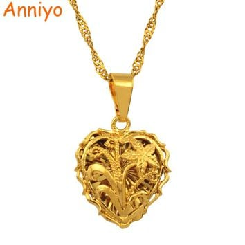 "Anniyo Small Heart leaves & flowers pendant necklace chain 18""/24"" Gold Color love romantic jewelry fashion women girl/nice gift"