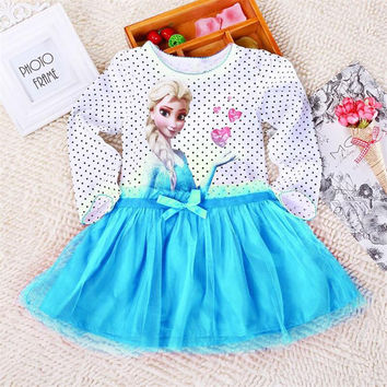 Elsa Anna Frozen Coronation dress costume princess sequined Long Sleeve Diamond Dresses girls dress