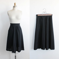 Vintage 70s Black Midi Circle Skirt with Belt Loops | xs small