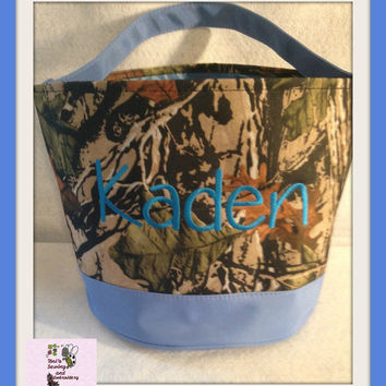 Blue Camo Easter Buckets  personalized Easter Basket , Chevron Bucket , Chevron Tote ~~Ready to Ship~~