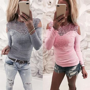 Sexy Lady Lace Hollow Crochet Chest T-Shirt Patchwork Long Sleeve Slim Solid Cotton Pullover Femme Top Blouses