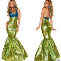 FREE SHIPPING The new green Mermaid fairy tale game UNIFORM Halloween Costume Cosplay bar makeup ball