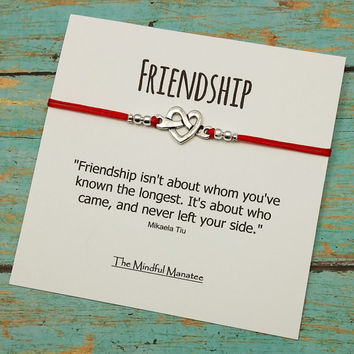 Two Friendship Bracelets On Two Cards |Love Knot Bracelets|  Matching Bracelets | Gift for Friend | Best Friend Bracelets | BFF Gift