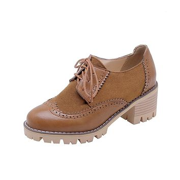Lace Up Chunky Mid Heels Women Oxford Shoes