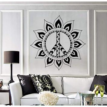 Vinyl Wall Decal Mandala Hippie Peace Symbol Stickers Mural Unique Gift (ig4421)