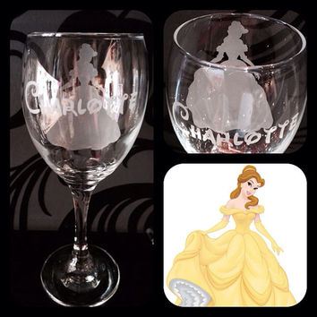 Personalised Disney Belle Silhouette Wine Glass With Free Name Engraved In Disney Font. Totally Unique Gift For Any Disney Fan!
