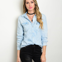 Light Washed Denim Chambray Shirt