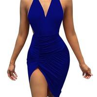 Backless Halter V-neck Strapless Sleeveless Bodycon Short Dress