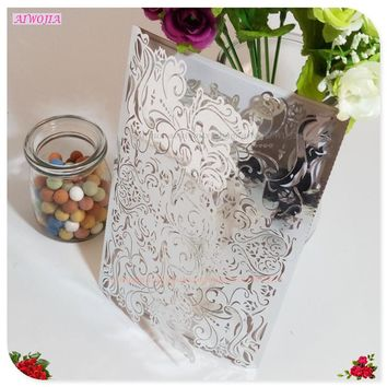 10Pcs Wedding Party Invitation Card Romantic Decorative Cards Delicate Carved Pattern Wedding Invitations Party Supply 8ZSH073