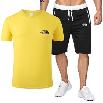 The North Face new tide brand breathable wild sports suit two-piece Yellow