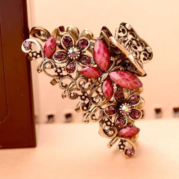 New Fashion HairJewelry Retro Butterfly Hair Claw Vintage Rhinestone Clip Headwear Hair Ornaments For Women Girl