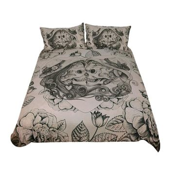 Green Floral Skull Bedding Set (Super Soft Duvet Cover with Pillowcases)