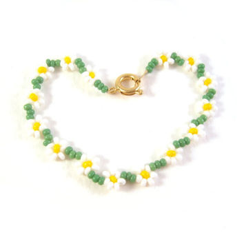 Girls Daisy Bracelet: Beaded Friendship Bracelet, Daisy Chain Bracelet UK Seller