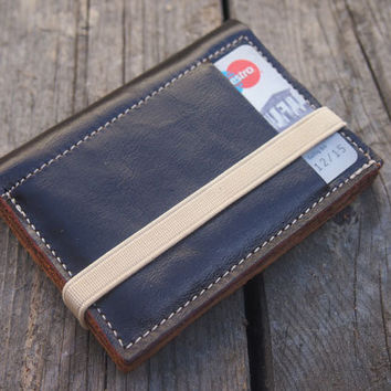Dark chocolate and patterned brown, small wallet, leather purse, made of up cycled leather, wallet with beige elastic band