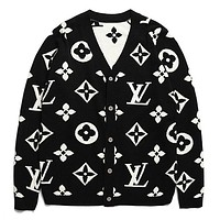 LV 2018 autumn and winter models full printed logo knitting men and women V-neck cardigan long-sleeved sweater black