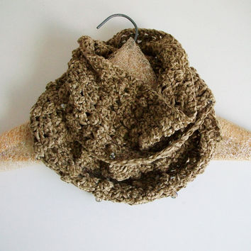 Tan Lace Infinity Scarf With Beading Victorian Style