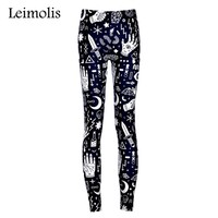 Leimolis adventure time punk rock Harajuku black milk push up fitness sexy 3d print Witchy lady women leggings plus size pants