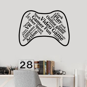 Vinyl Wall Decal Joystick Gamepad Words Cloud Video Games Room Art Stickers Mural (ig5404)