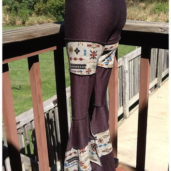 Women's tribal charcoal patchwork yoga pants festival flare bell bottom small