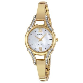 Seiko Womens Gold Tone Crystal Bangle Solar Watch SUP216