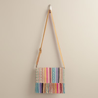 Small Pink Cross-Body Woven Bag - World Market