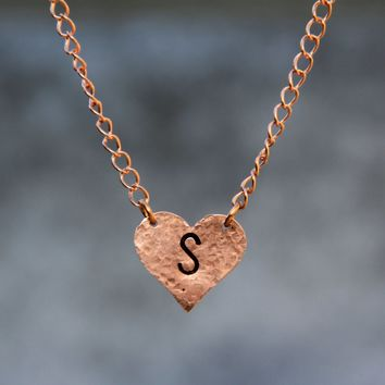 Personalized hammered textured heart intial monogram charm necklace copper Bridesmaids gifts Free US Shipping handmade Anni Designs
