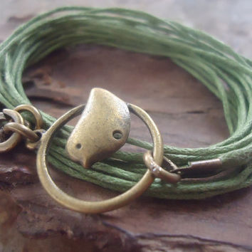 BRONZE BIRD wrap bracelet with BEEPS