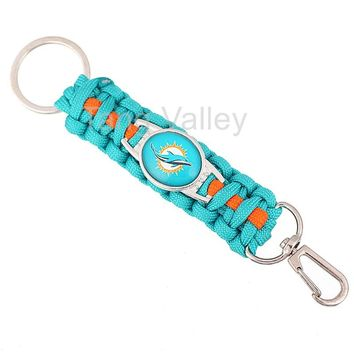 New Miami Dolphins Paracord Keychain Drop Shipping! KY0006