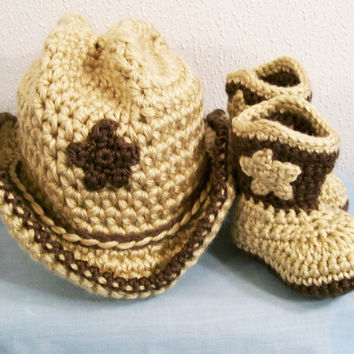 Baby Boys Crochet Cowboy Gift Set, Western Cowboy, Boots in Tan with Brown, Baby Boy gift, Baby Shower Gift, Made in the USA, #161