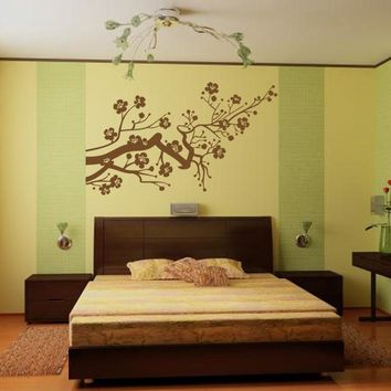 ik955 Wall Decal Sticker japanese cherry cherry tree flower bedroom