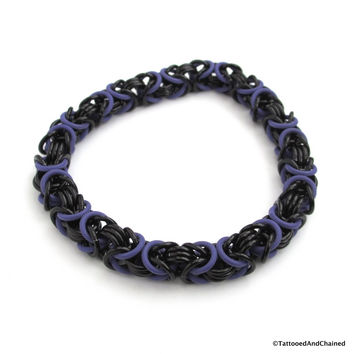 Byzantine chainmaille stretchy bracelet, purple and black
