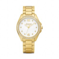 Coach :: TRISTEN GOLD-PLATED CRYSTAL BRACELET WATCH