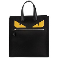 Fendi Men's Monster-Creature Nylon Tote 'Monster' Front-Zip Flat-Handle Nylon Tote Bag Black  Fendi bag