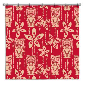 Red Vintage Tiki Hawaiian Shower Curtain