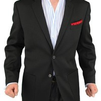 Modern Fit Men's Blazer 2 Button Coat Black (40 Regular)