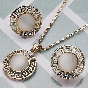 Gold Layered Women Greek Key Earring and Pendant Adult Set, with White Crystal, by Folks Jewelry
