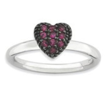 Sterling Silver Ruby Heart Ring