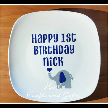 Elephant Guest Plate - Completely Personalized Guest Book - Baby Shower - Birthday Party - Custom - Unique - Fun