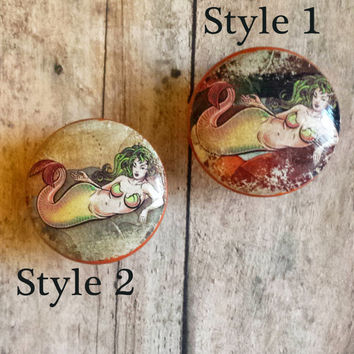 Handmade Mermaid Knob Drawer Pulls, Birch Wood, Mystical Cabinet Pull Handles, Dresser Knobs, Choose Style, We Make Customized Orders