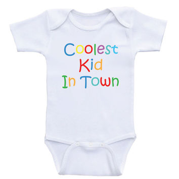 "Baby Onesuits ""Coolest Kid In Town"" Unisex One-Piece Baby Shirts"