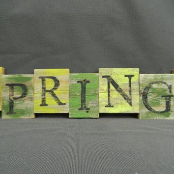 "Handpainted Reclaimed Aged Bright Colors Painted wood Art, Very Rustic and Shabby chic Sign ""SPRING"""