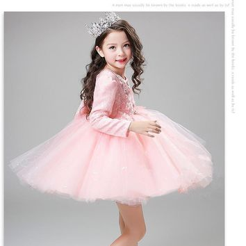High Quality sequin Pink baby girls long sleeve 1 year old birthday dress baptism christening wedding dresses for infant