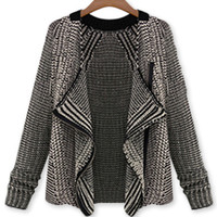 Monochrome Drape Front Mxied Yarn Knitted Cardigan